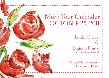 Save the Date Card - Coming Up Roses Wedding