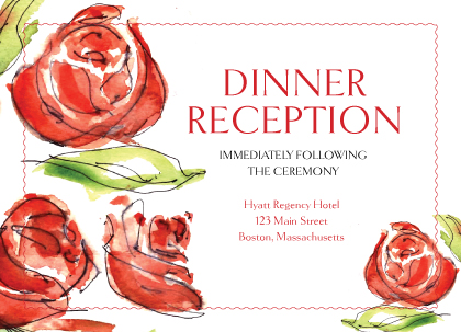 Reception Card - Coming Up Roses Wedding
