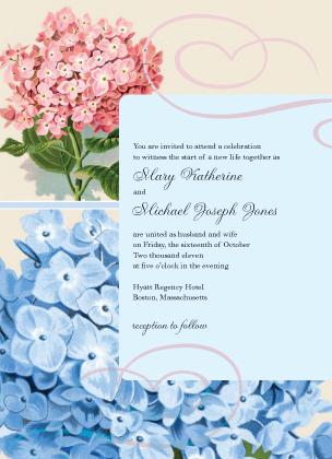 Wedding Invitation - Vintage Hydrangea