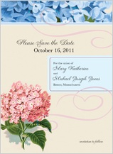 Save the Date Card - vintage hydrangea