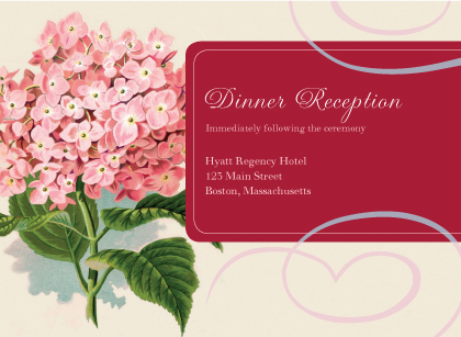 Reception Card - Vintage Hydrangea