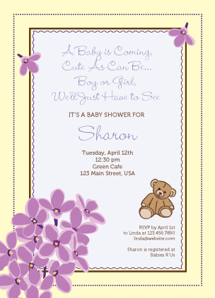 Baby Shower Invitation - Lilac Baby Shower