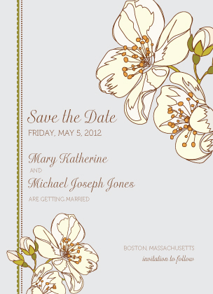 Save the Date Card - Spring Blossoms