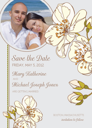 Save the Date Card with photo - Spring Blossoms