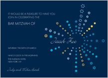 Bar Mitzvah Party Invitation - starbursts