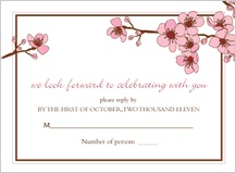 Response Card - cherry blossoms