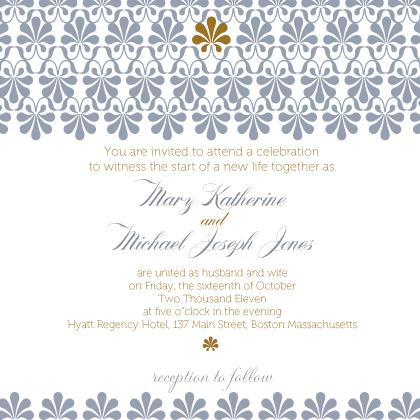 Wedding Invitation - Gold & Silver Flourish