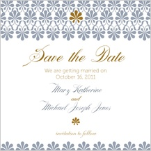 Save the Date Card - gold & silver flourish