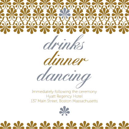 Reception Card - Gold & Silver Flourish