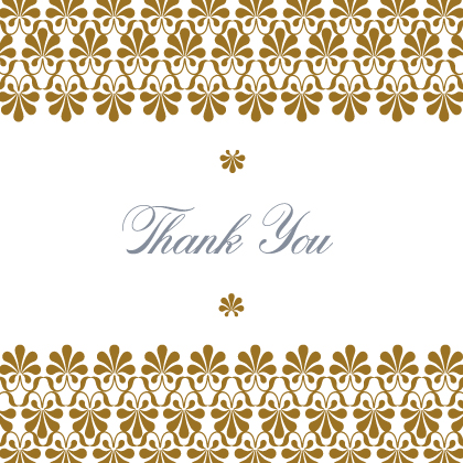 Wedding Thank You Card - Gold & Silver Flourish