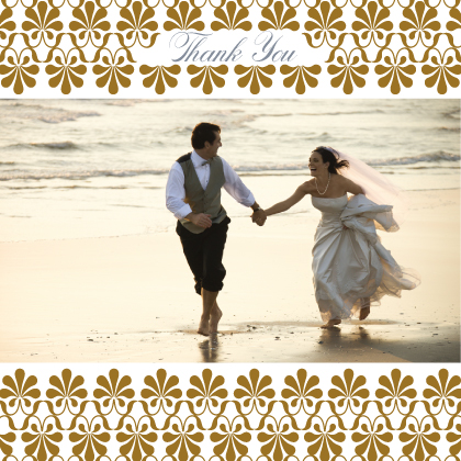 Wedding Thank You Card with photo - Gold & Silver Flourish