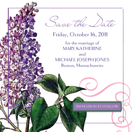 Save the Date Card - Vintage Lilac