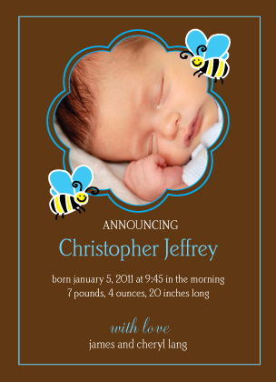 Birth Announcement with photo - baby bee test