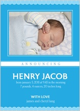 Birth Announcement with photo - ruffle blue