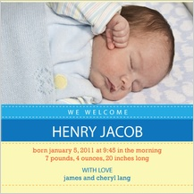 Birth Announcement with photo - baby stripes