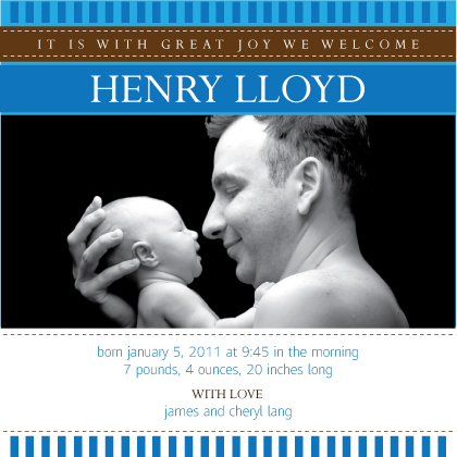 Birth Announcement with photo - blue and brown stripes