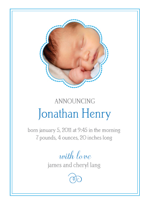 Birth Announcement with photo - baby boy flower