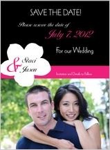 Save the Date Card with photo - contemporary floral