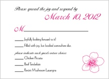 Response Card with menu options - contemporary floral