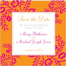 Save the Date Card - orange & pink nights
