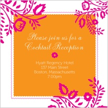 Reception Card - orange & pink nights