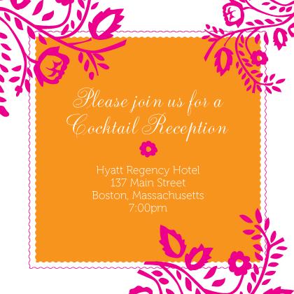 Reception Card - orange & pink nights