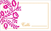 Place Card - orange & pink nights