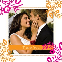 Wedding Thank You Card with photo - orange & pink nights