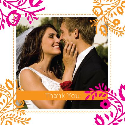 Wedding Thank You Card with photo - orange & pink nights
