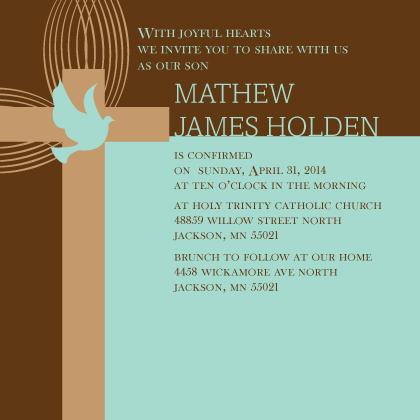 Confirmation Invitation - Conformation Dove
