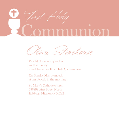 First Communion Invitation - Holy Communion Simple
