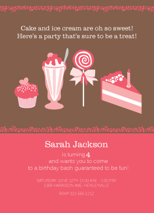 Birthday Party Invitation - Sweet Little Birthday