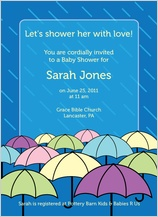 Baby Shower Invitation - umbrella shower