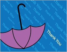 Baby Thank You Card - umbrella shower