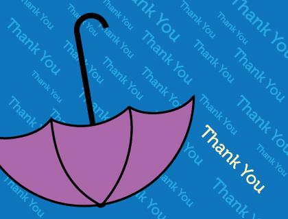 Baby Thank You Card - Umbrella Shower