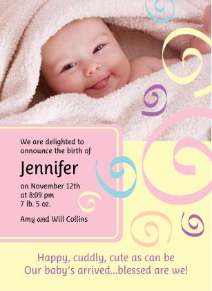 Birth Announcement with photo - Spirals