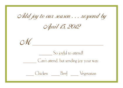 Response Card with menu options - Pears