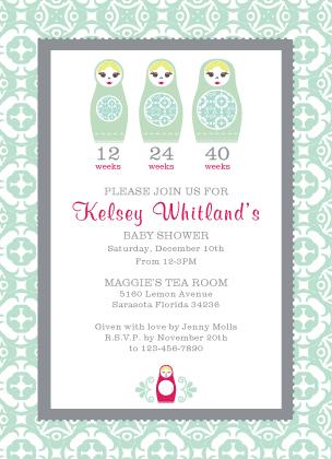 Baby Shower Invitation - Nesting Dolls