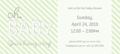 Baby Shower Invitation - Oh, Baby