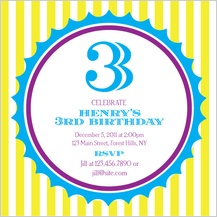 Birthday Party Invitation - birthday boy & yellow stripes