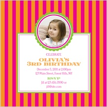 Birthday Party Invitation with photo - stripes are fun!