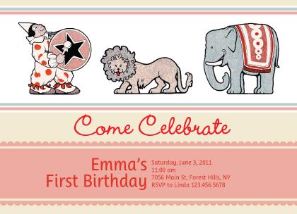 Birthday Party Invitation - Circus Fun for Girls