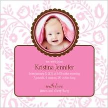 Birth Announcement with photo - pink flowers