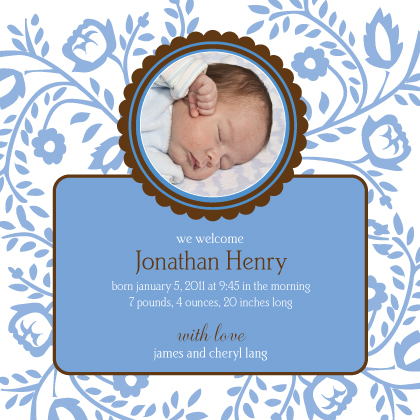 Birth Announcement with photo - Baby vines