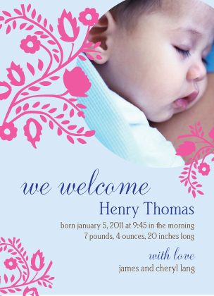 Birth Announcement with photo - Vines and Flowers