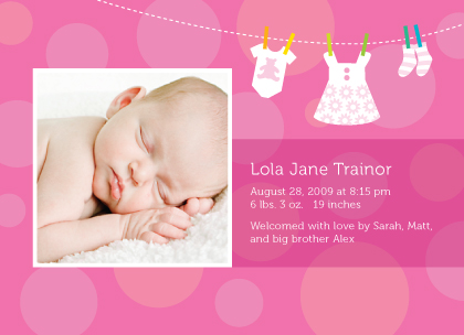 Birth Announcement with photo - Baby Dots