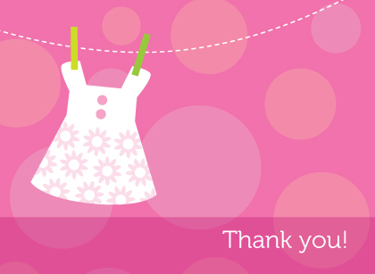 Baby Thank You Card - Baby Dots
