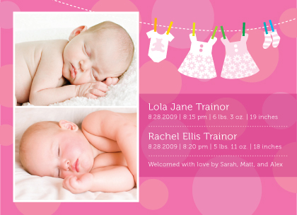 Baby Dots Multiples Birth Announcement with photo Look Love Send