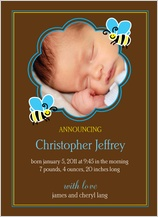 Birth Announcement with photo - busy bee