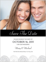Save the Date Card with photo - graphic flowers